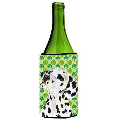 Dalmatian St. Patricks Day Shamrock Wine bottle sleeve Hugger 24 oz.
