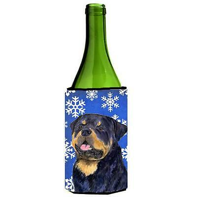 Rottweiler Winter Snowflakes Holiday Wine bottle sleeve Hugger 24 oz.