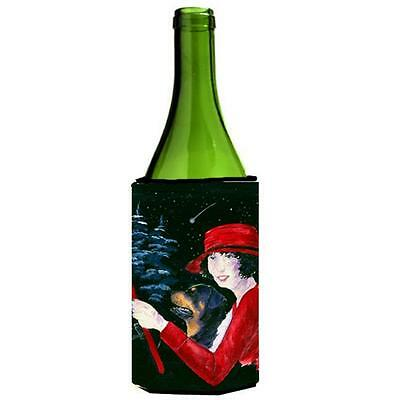 Lady Driving With Her Rottweiler Wine bottle sleeve Hugger 24 oz.