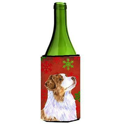 Australian Shepherd Red Green Snowflakes Christmas Wine bottle sleeve Hugger