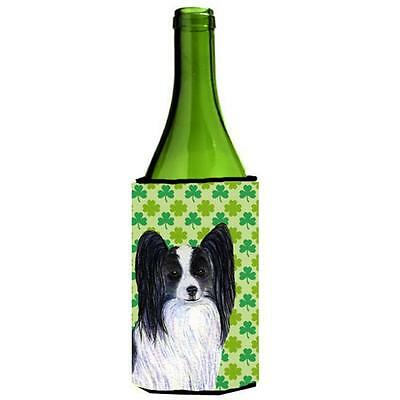 Papillon St. Patricks Day Shamrock Wine bottle sleeve Hugger 24 oz.