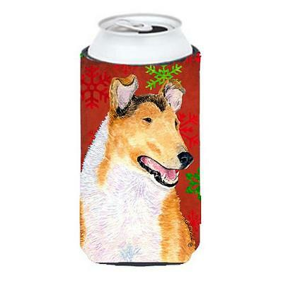 Collie Smooth Red Green Snowflakes Christmas Tall Boy bottle sleeve Hugger 22...