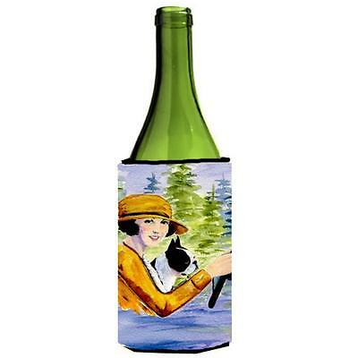 Woman Driving With Her Boston Terrier Wine bottle sleeve Hugger 24 oz.