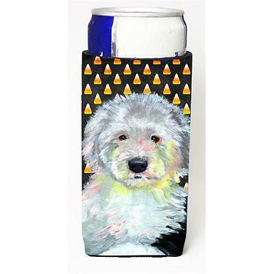 Old English Sheepdog Candy Corn Halloween Portrait Michelob Ultra bottle slee...