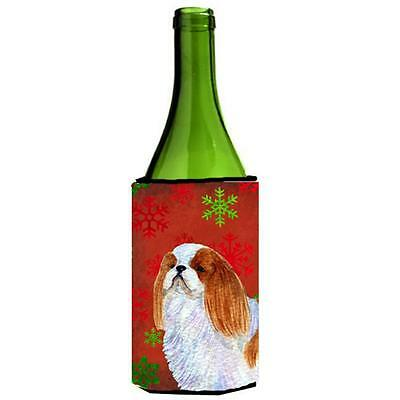 English Toy Spaniel Snowflakes Holiday Christmas Wine bottle sleeve 24 oz.