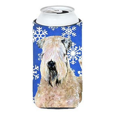 Wheaten Terrier Soft Coated Winter Snowflakes Holiday Tall Boy bottle sleeve ...