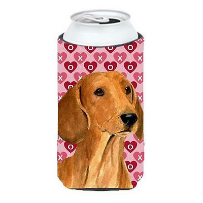 Dachshund Hearts Love And Valentines Day Portrait Tall Boy bottle sleeve Hugg...