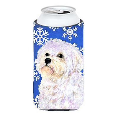 Maltese Winter Snowflakes Holiday Tall Boy bottle sleeve Hugger