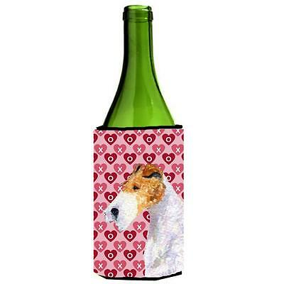 Fox Terrier Hearts Love And Valentines Day Portrait Wine bottle sleeve Hugger...