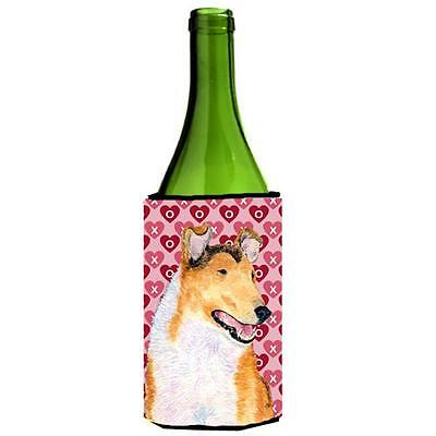 Collie Smooth Hearts Love Valentines Day Portrait Wine bottle sleeve Hugger 2...