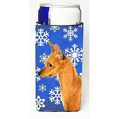 Min Pin Winter Snowflakes Holiday Michelob Ultra bottle sleeve for Slim Can