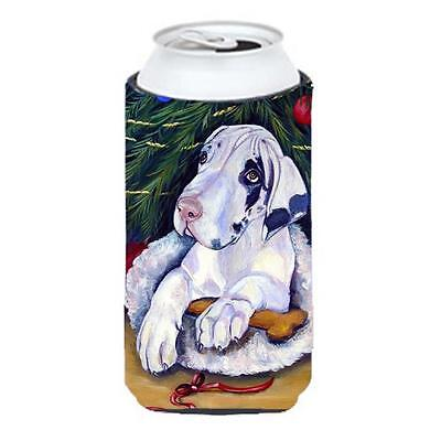 Christmas Tree With Great Dane Tall Boy bottle sleeve Hugger 22 To 24 oz.