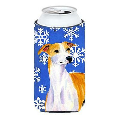 Whippet Winter Snowflakes Holiday Tall Boy bottle sleeve Hugger 22 To 24 oz.