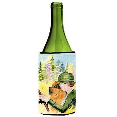 Lady Driving With Her Chow Chow Wine bottle sleeve Hugger 24 oz.