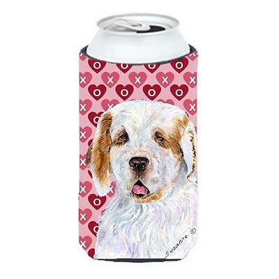 Clumber Spaniel Hearts Love And Valentines Day Tall Boy bottle sleeve Hugger