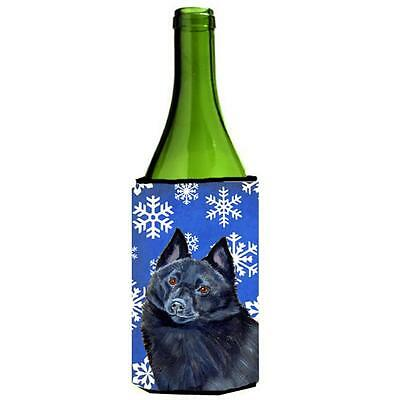 Schipperke Winter Snowflakes Holiday Wine bottle sleeve Hugger 24 oz.