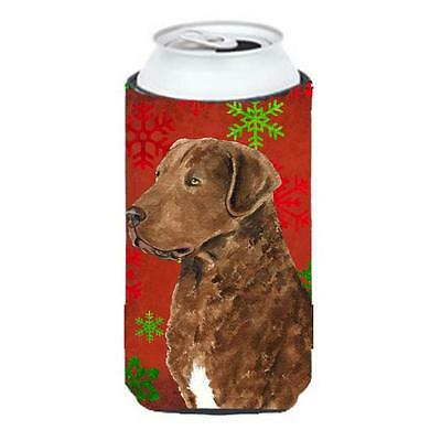 Chesapeake Bay Retriever Red Snowflakes Holiday Christmas Tall Boy bottle sleeve