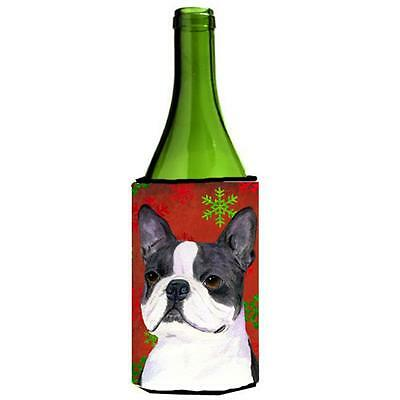 Boston Terrier Red Green Snowflakes Christmas Wine bottle sleeve Hugger 24 oz.