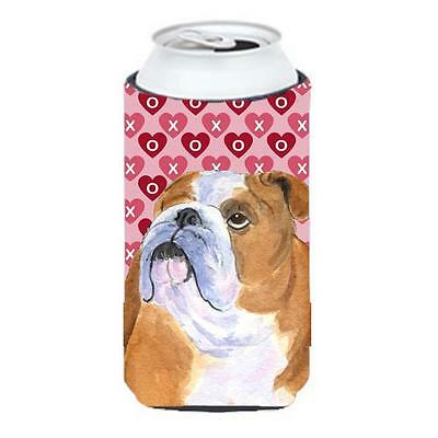 Bulldog English Hearts Love Valentines Day Tall Boy bottle sleeve Hugger 22 T...
