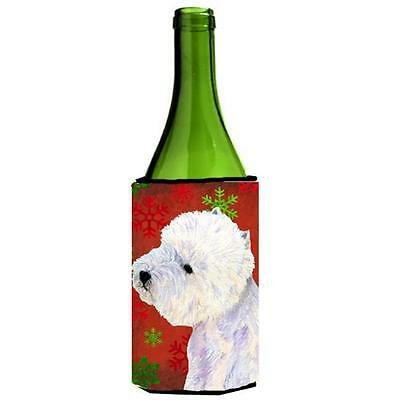 Westie Red And Green Snowflakes Holiday Christmas Wine bottle sleeve Hugger