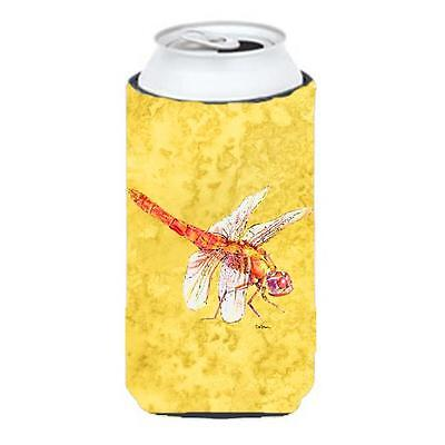 Dragonfly On Yellow Tall Boy bottle sleeve Hugger 22 To 24 oz.