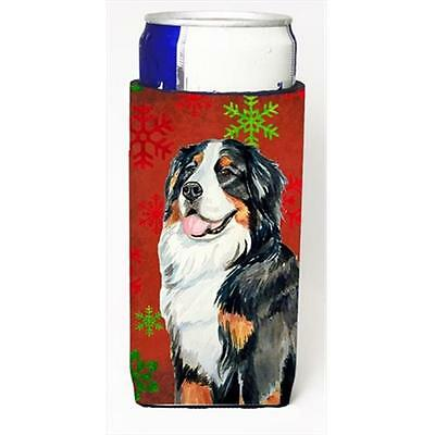Bernese Mountain Dog Red Green Snowflakes Holiday Christmas Michelob Ultra bo...