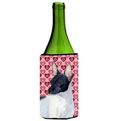 Rat Terrier Hearts Love And Valentines Day Portrait Wine bottle sleeve Hugger...