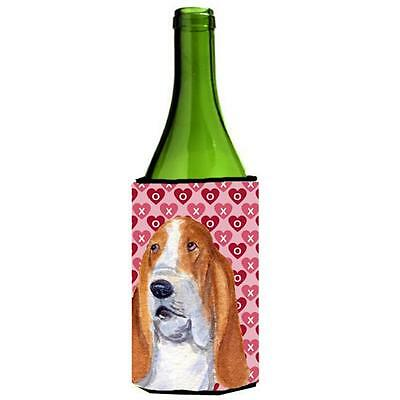 Basset Hound Hearts Love And Valentines Day Wine bottle sleeve Hugger