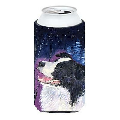 Starry Night Border Collie Tall Boy bottle sleeve Hugger 22 To 24 oz.