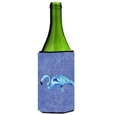 Carolines Treasures Flamingo On Slate Blue Wine bottle sleeve Hugger 24 oz.
