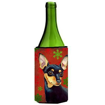 Min Pin Red And Green Snowflakes Holiday Christmas Wine bottle sleeve Hugger