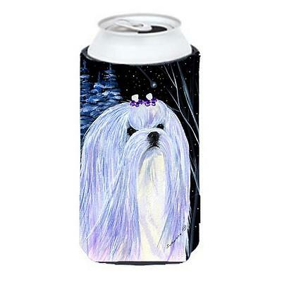 Starry Night Maltese Tall Boy bottle sleeve Hugger 22 To 24 oz.