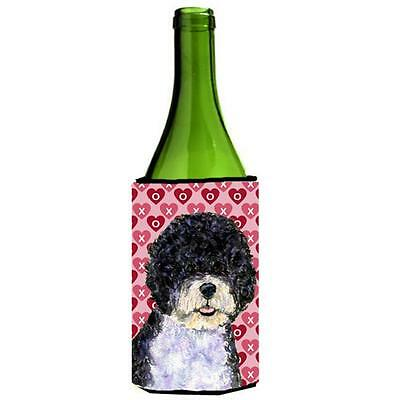 Portuguese Water Dog Hearts Love Valentines Day Wine bottle sleeve Hugger 24 oz.
