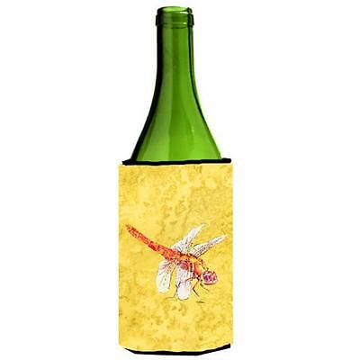 Carolines Treasures Dragonfly On Yellow Wine bottle sleeve Hugger 24 oz.