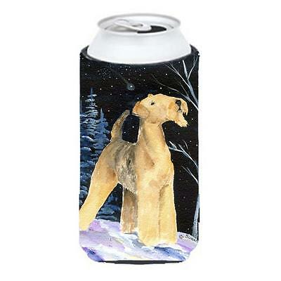 Starry Night Airedale Tall Boy bottle sleeve Hugger 22 To 24 oz.