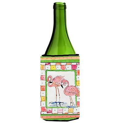 Carolines Treasures Pair Of Pink Flamingos Wine bottle sleeve Hugger 24 Oz. • AUD 48.26