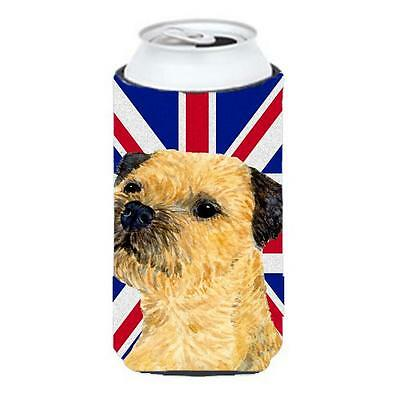 Border Terrier With English Union Jack British Flag Tall Boy bottle sleeve Hu...