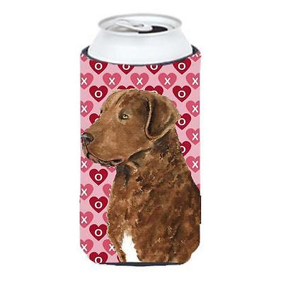 Chesapeake Bay Retriever Hearts Love Valentines Day Tall Boy bottle sleeve Hu...