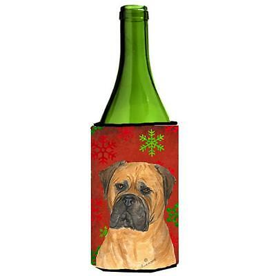 Bullmastiff Red And Green Snowflakes Holiday Christmas Wine bottle sleeve 24 oz.