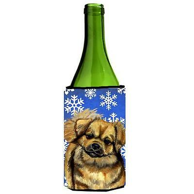 Tibetan Spaniel Winter Snowflakes Holiday Wine bottle sleeve Hugger 24 oz.