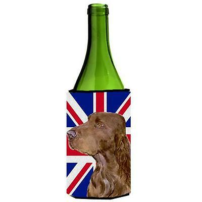 Field Spaniel With English Union Jack British Flag Wine bottle sleeve Hugger ...
