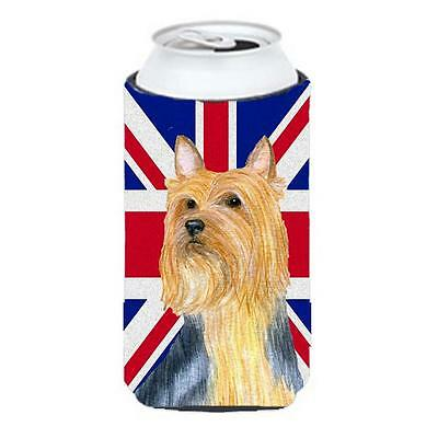 Silky Terrier With English Union Jack British Flag Tall Boy bottle sleeve Hug...
