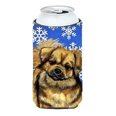 Tibetan Spaniel Winter Snowflakes Holiday Tall Boy bottle sleeve Hugger 22 To...