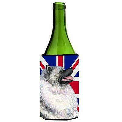 Keeshond With English Union Jack British Flag Wine bottle sleeve Hugger 24 Oz.