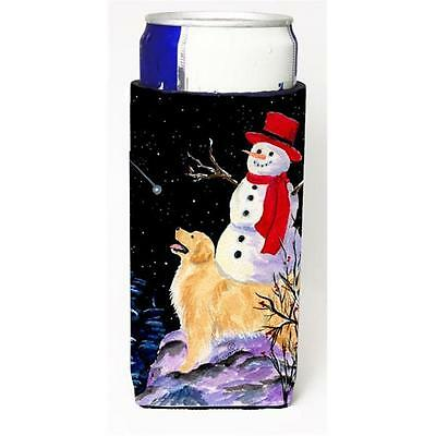 Golden Retriever With Snowman In Red Hat Michelob Ultra bottle sleeves For Sl...