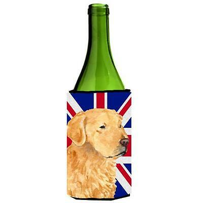 Golden Retriever With English Union Jack British Flag Wine bottle sleeve Hugg...