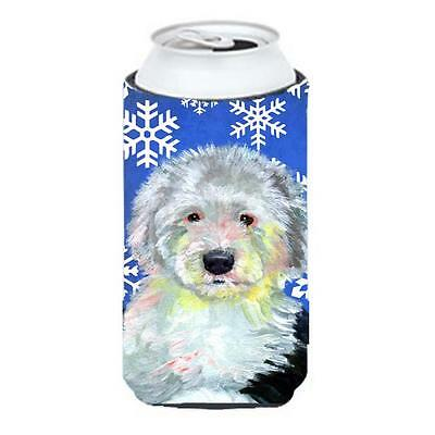 Old English Sheepdog Winter Snowflakes Holiday Tall Boy bottle sleeve Hugger ...