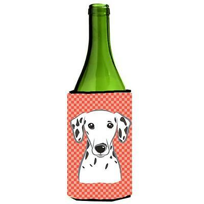 Carolines Treasures Red Checkered Dalmatian Wine bottle sleeve Hugger