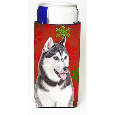 Red Snowflakes Holiday Christmas Alaskan Malamute Michelob Ultra bottle sleev...