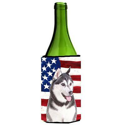 USA American Flag with Alaskan Malamute Wine bottle sleeve Hugger